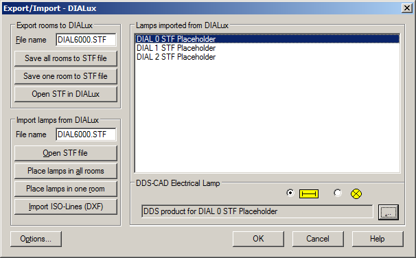 DIALux interface